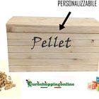 Panca Panchetta Box Baule in Legno Porta Pellet Giocattoli portalegna Attrezzi cassapanca Cassa Contenitore con coperchi 56x36x36 cm Personalizzabile
