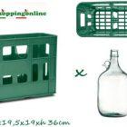 Cassa per dama dame 5 litri in vetro cesto 3 posti cassetta porta bottiglie cassone cassette sovrapponibili cesta doppio manico