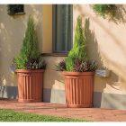 Vaso in polipropilene mezzotondo roma+sottovaso Bama colore terracotta 8007633309007