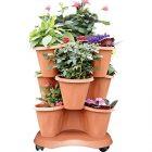 Vaso in polipropilene Trifoglio + sottovaso + ruote Bama colore terracotta 8007633300158