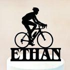 Topper torta con nome personalizzato biciclette decorazione 21x21 cm 7033691631874